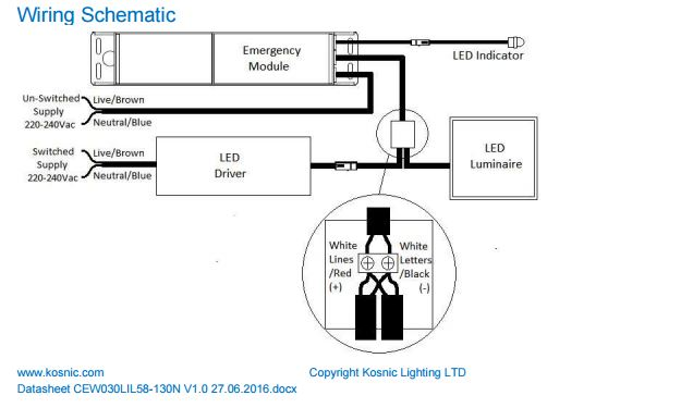 universal emergency module for led luminaires kosnic cew030lil58130n