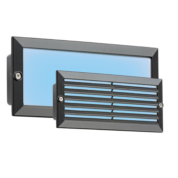 Blue LED Recessed Brick Light 5w IP54 Black Fascia BLED5BB International