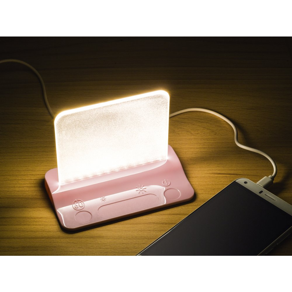 Integral Led Pink Usb Table Night Light With Usb Charging
